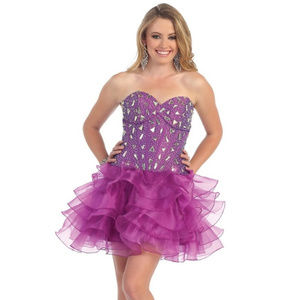 Short Cocktail Party Dress Corset Back Magenta NWT